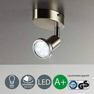B.K. Licht spot plafond LED orientable, plafonnier LED applique murale, éclairage plafond salon chambre, lumière blanche chaude, 230V, IP20, 3W de la marque B.K.Licht image 0 produit