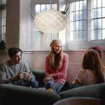 B.K. Licht suspension luminaire design blanc, plafonnier élégant, éclairage intérieur, lumière blanche chaude, lampe plafond cuisine salon salle à manger chambre, E27, IP20, max. 60W, Ø 460 mm de la marque B.K.Licht image 3 produit