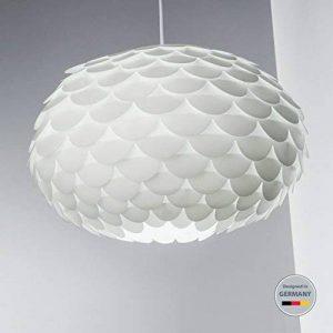 B.K. Licht suspension luminaire design blanc, plafonnier élégant, éclairage intérieur, lumière blanche chaude, lampe plafond cuisine salon salle à manger chambre, E27, IP20, max. 60W, Ø 460 mm de la marque B.K.Licht image 0 produit