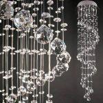 Bakaji plafonnier à suspension lampe de plafond avec sphères et pendantes en cristal de verre style moderne classe a + + Dimension 90x 25x 25cm couleur argent de la marque Bakaji image 2 produit