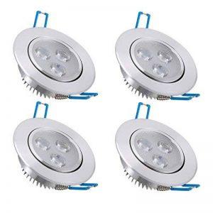 Bay Lot de 4 Spots Encastrables LED 3W Projecteur Encastré Lampe Plafonnier Orientable Blanc Froid Plafond Rond 6000K 280 LM Equivalente à Incandescence de 30W Ra 80 de la marque Bay image 0 produit