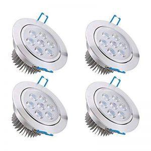 Bay Lot de 4 Spots Encastrables LED 7W Projecteur Encastré Lampe Plafonnier Orientable Blanc Froid Plafond Rond 6000K 630 LM Equivalente à Incandescence de 50W Ra 80 de la marque Bay image 0 produit