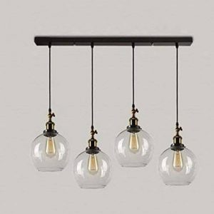 BAYCHEER Lampe Suspensions Lustre Abat-jour en Métal Style Ampoule Rétro Industriel Eclairage Decoratif 4 Light de la marque BAYCHEER image 0 produit