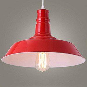 BAYCHEER Lampe Suspensions Lustre Abat-jour en Métal Style Bol Rétro Industriel Eclairage Decoratif-Rouge de la marque BAYCHEER image 0 produit