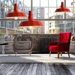 BAYCHEER Lampe Suspensions Lustre Abat-jour en Métal Style Bol Rétro Industriel Eclairage Decoratif-Rouge de la marque BAYCHEER image 3 produit