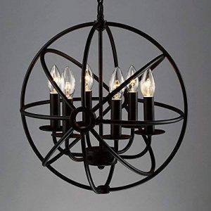 BAYCHEER Lustre Chandelier Abat-jour en Métal Style Rétro Design Cage Lampe Plafonnier 6 culot E27 de la marque BAYCHEER image 0 produit