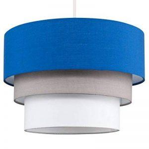 Belle Abats-Jour pour Suspension de Plafond. Moderne - 3 Tambours en Cascade. Finition en Tissue Bleu, Gris et en Blanc de la marque MiniSun image 0 produit