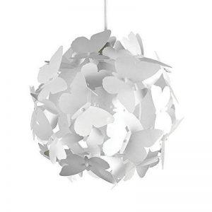 Belle Moderne et Lumineux Lustre Pendentif. Papillons blanches sur un Boule. Abat-jour pour Chambres des Enfants ou Décor contemporain de la marque MiniSun image 0 produit