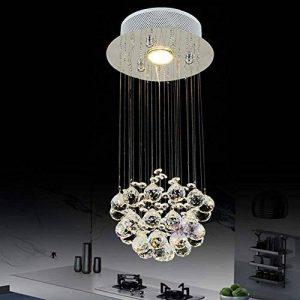 BJVB Cristal suspendus lumières multi-escalier Long lustre Foyer allée lustre goutte d'eau Crystal ball lustre rond. plafonnier base W20 * H46 de la marque BJVB Lamp image 0 produit