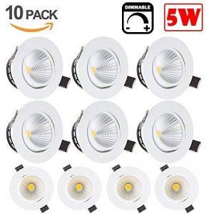 BLOOMWIN 10 x Spot Encastrable LED 5W 220V 2600-2800K COB Encastré Lampe Plafonnier Orientable Encastrable Plafond Blanc Chaud de la marque Bloomwin image 0 produit