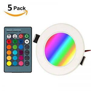 BLOOMWIN Spot Encastrable LED 5PCS MINI Lampe Plafonnier 3W Lumière RGBW Dimmable avec Télécommande 85-265V Eclairage Intérieur pour Maison Chambre Salon Bureau Marché école de la marque Bloomwin image 0 produit