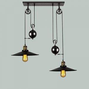 Bon lustre Retro Loft Lustre À Vent Industriel Poulie À Double Tête Créative Lustre En Fer Noir de la marque Un bon éclairage image 0 produit