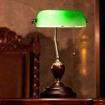 Bonne chose lampe de table Rétro vert émeraude banc de table lampe de chevet Antique en bois vieux Shanghai verre lampe de bureau classique interrupteur à tirette de la marque Good thing éclairage image 1 produit