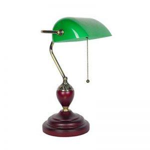 Bonne chose lampe de table Rétro vert émeraude banc de table lampe de chevet Antique en bois vieux Shanghai verre lampe de bureau classique interrupteur à tirette de la marque Good thing éclairage image 0 produit