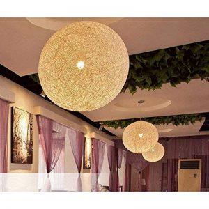 Boule tréssée lampe suspension Lustre Beige Plafond Vintage Décoration pour Chambre Restaurant Couloir Diamètre 25cm de la marque AZX image 0 produit