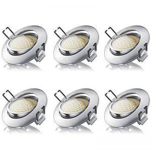 Brandson - Set 6 x Spot de plafond LED blanc chaud pivotant | lampe encastrée LED | spot encastré LED / Spotlight / plafonnier LED | cadre moulé en aluminium mine (aspect inox) | mécanisme de fixation avec clip | angle de rayonnement : 120° | 230 V | 3,5 image 0 produit