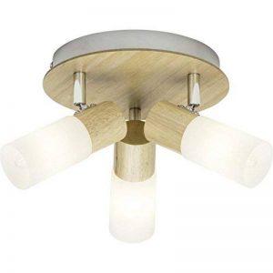 Brilliant 51434/50 Babsan Plafonnier avec 3 Lumières, Métal/Bois/Plastique, E14, 3.5 W, Clair/Blanc de la marque Brilliant image 0 produit