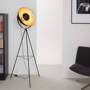 Briloner Leuchten 1380-015 Lampadaire trépied vintage - style projecteur de cinéma - abat-jour métal noir mat & or - douille E27-60 W max. - hauteur : 160 cm de la marque Briloner Leuchten image 0 produit