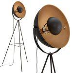 Briloner Leuchten 1380-015 Lampadaire trépied vintage - style projecteur de cinéma - abat-jour métal noir mat & or - douille E27-60 W max. - hauteur : 160 cm de la marque Briloner Leuchten image 3 produit