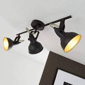 Briloner Leuchten 2049-035 Plafonnier 3 spots pivotants - luminaire style vintage - métal noir & or mat - 3 douilles E14-40 W max. - 55.4 x 10 x 18.1 cm de la marque Briloner-Leuchten image 0 produit