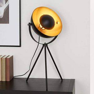 Briloner Leuchten 7380-015 Lampe de table trépied vintage - style projecteur de cinéma - abat-jour métal noir mat & or - douille E27-60 W max. - Ø 28 cm de la marque Briloner Leuchten image 0 produit