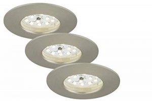 Briloner Leuchten Spot encastré LED rond sans transformateur de faible profondeur de montage Seulement 30 mm, Plastique, Nickel mat, 3er Set 5 watts de la marque Briloner Leuchten image 0 produit