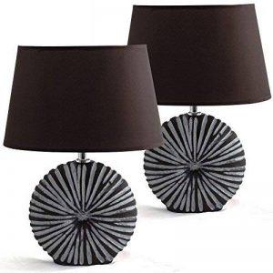BRUBAKER Lampe de Table, de Chevet - Lot de 2 - Abat-jour Brun et Pied de la Céramique Brun/Blanc - Hauteur 36 cm de la marque Brubaker image 0 produit