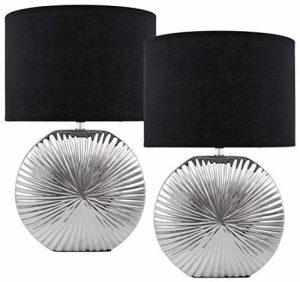 BRUBAKER Lampe de table/de chevet - Lot de 2 - Pied en Céramique Argenté brillant - Abat-jour Noir - Design moderne - Hauteur 47 cm de la marque Brubaker image 0 produit
