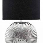 BRUBAKER Lampe de table/de chevet - Lot de 2 - Pied en Céramique Argenté brillant - Abat-jour Noir - Design moderne - Hauteur 47 cm de la marque Brubaker image 1 produit