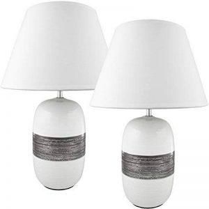 BRUBAKER Lampe de table / de chevet - Lot de 2 - Pied en Céramique Blanc Argenté brillant - Abat-jour Noir - Design moderne - Hauteur 45 cm de la marque Brubaker image 0 produit