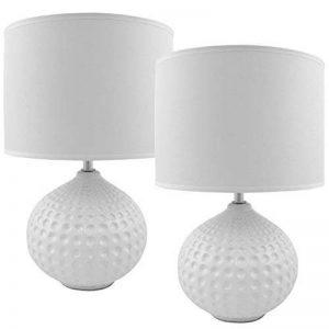 BRUBAKER Lampe de table / de chevet - Lot de 2 - Pied en Céramique Crème brillant - Abat-jour Blanc - Design moderne - Hauteur 35 cm de la marque Brubaker image 0 produit
