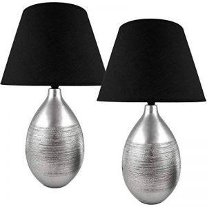 Brubaker Lot de 2de table ou de nuit lampe de table avec abat-jour noir et un pied en céramique élégant en chrome argent–47cm Hauteur de la marque Brubaker image 0 produit