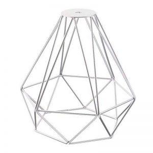 Cage en Métal Forme de Diamant Abat-Jour de Lampe de Plafond Vintage Pendentif Loft Décor - Argent de la marque Générique image 0 produit