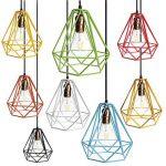 Cage en Métal Forme de Diamant Abat-Jour de Lampe de Plafond Vintage Pendentif Loft Décor - Jaune de la marque Générique image 2 produit