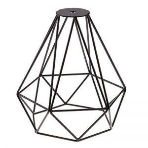 Cage en Métal Forme de Diamant Abat-Jour de Lampe de Plafond Vintage Pendentif Loft Décor - Noir de la marque Générique image 0 produit