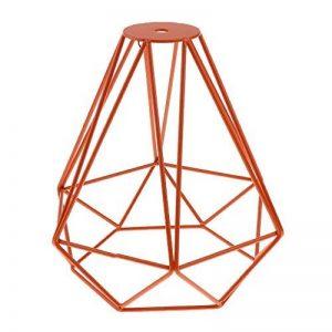 Cage en Métal Forme de Diamant Abat-Jour de Lampe de Plafond Vintage Pendentif Loft Décor - Orange de la marque Générique image 0 produit