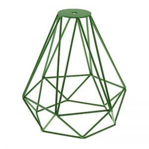 Cage en Métal Forme de Diamant Abat-Jour de Lampe de Plafond Vintage Pendentif Loft Décor - Vert de la marque Générique image 0 produit