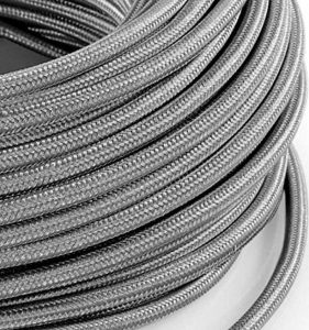 Câble électrique en tissu rond Rond Style Vintage avec revêtement coloré Argent H03VV-F section 2x 0,75pour lustres, lampes, abat jour, Design. Fabriqué en Italie de la marque MeToo Design image 0 produit