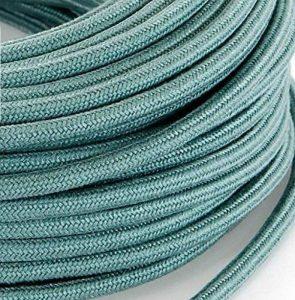Câble électrique en tissu rond Rond Style Vintage avec revêtement coloré brut sauge Vert H03VV-F section 2x 0,75pour lustres, lampes, abat jour, Design. Fabriqué en Italie de la marque MeToo Design image 0 produit