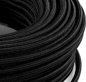 Câble électrique en tissu rond Rond Style Vintage avec revêtement coloré Noir H03VV-F section 2x 0,75pour lustres, lampes, abat jour, Design. Fabriqué en Italie de la marque MeToo Design image 0 produit