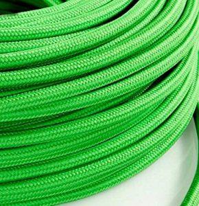 Câble électrique en tissu rond Rond Style Vintage avec revêtement coloré vert citron Kiwi H03VV-F section 2x 0,75pour lustres, lampes, abat jour, Design. Fabriqué en Italie de la marque MeToo Design image 0 produit