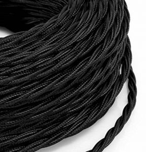 Câble électrique tressé tresse style vintage noir avec revêtement en tissu coloré section 3x 0,75pour lustres, lampes, abat jour, Design. Fabriqué en Italie de la marque MeToo Design image 0 produit