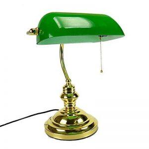 CGN Ministre Lamp avec la chaîne, American style Bureau lampe Studio en laiton poli en verre vert rétro lampe étude lampe de table en fer de chevet verre lamp 26 * 38cm Décoration (Couleur : Vert) de la marque TABLE LAMP-C image 0 produit