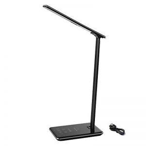 Chargeur sans fil de lampe de bureau de Brilex avec le port USB de charge, 4 modes d'éclairage avec 6 niveaux de luminosité, Mnuterie automatique, Contrôle tactile pour le bureau, Travail, Lecture de la marque Brilex image 0 produit