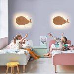 CHENGYI Applique Murale, LED Baleine Applique Chambre d'Enfant Chevet Simple Bois Massif Art Salon Décoration Nuit Lumière de la marque Applique murale image 2 produit