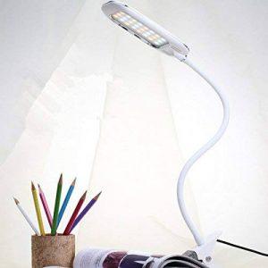 Éclairage avec clip, glisteny Lampe Table Trois températures de couleur, 3modes éclairage, 360° lampe sur pied flexible à col de cygne, port USB pour pour lecture ou étude, chambre, bureau de la marque Glisteny image 0 produit