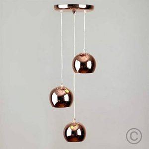 Contemporain Suspension Style 'Rétro'. 3 Globes Oculaires en Cascade. Finition en Effet Cuivre Polis de la marque MiniSun image 0 produit