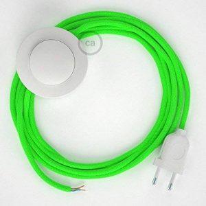 Cordon pour lampadaire, câble RF06 Effet Soie Vert Fluo 3 m. Choisissez la couleur de la fiche et de l'interrupteur! - Blanc de la marque Creative-Cables image 0 produit