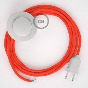 Cordon pour lampadaire, câble RF15 Effet Soie Orange Fluo 3 m. Choisissez la couleur de la fiche et de l'interrupteur! - Blanc de la marque Creative-Cables image 0 produit