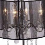 COSY – Lampe de chevet chandelier baroque à pampilles – Abat-jour en tissu – Hauteur 49cm – Diamètre : 35cm - 2 couleurs au choix : blanc ou noir (Noir) de la marque Quai 56 image 4 produit